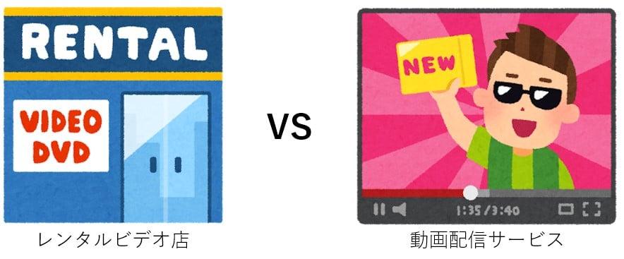 レンタルビデオ店と動画配信サービスの比較